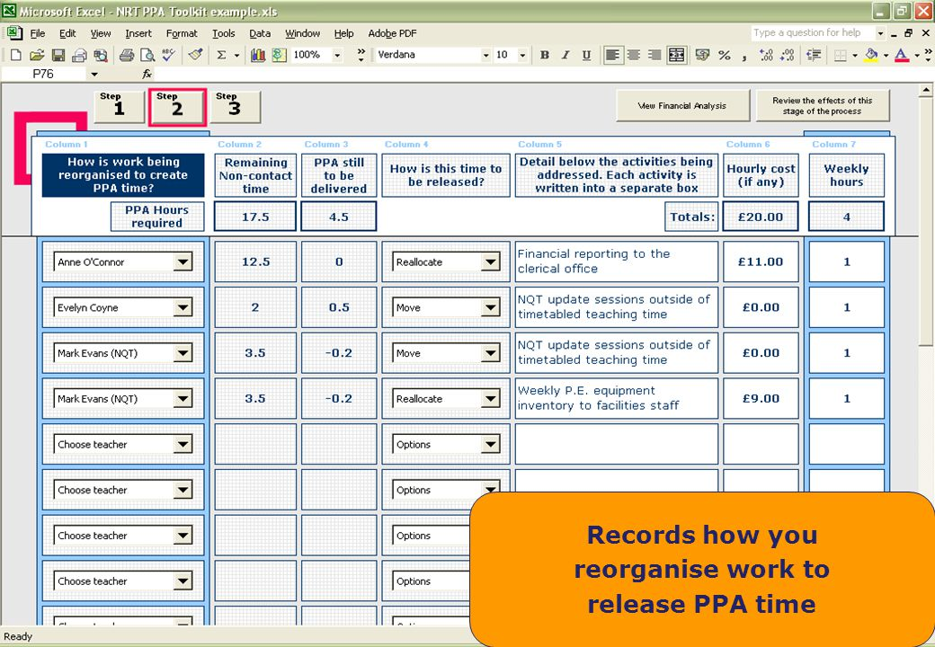 Records how you reorganise work to release PPA time