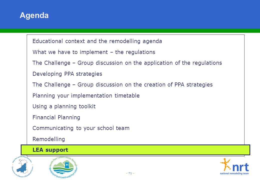 Agenda Educational context and the remodelling agenda