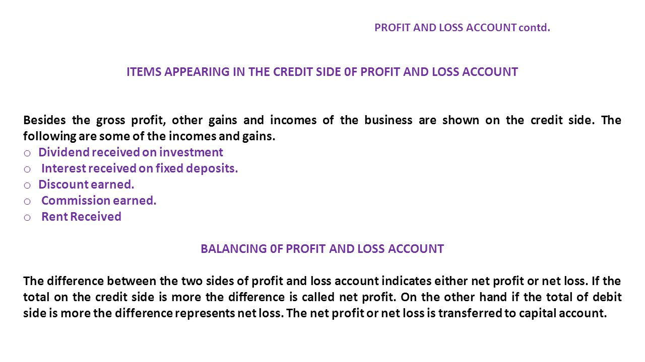 ITEMS APPEARING IN THE CREDIT SIDE 0F PROFIT AND LOSS ACCOUNT