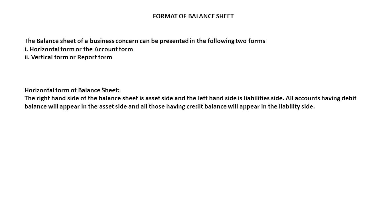 FORMAT OF BALANCE SHEET