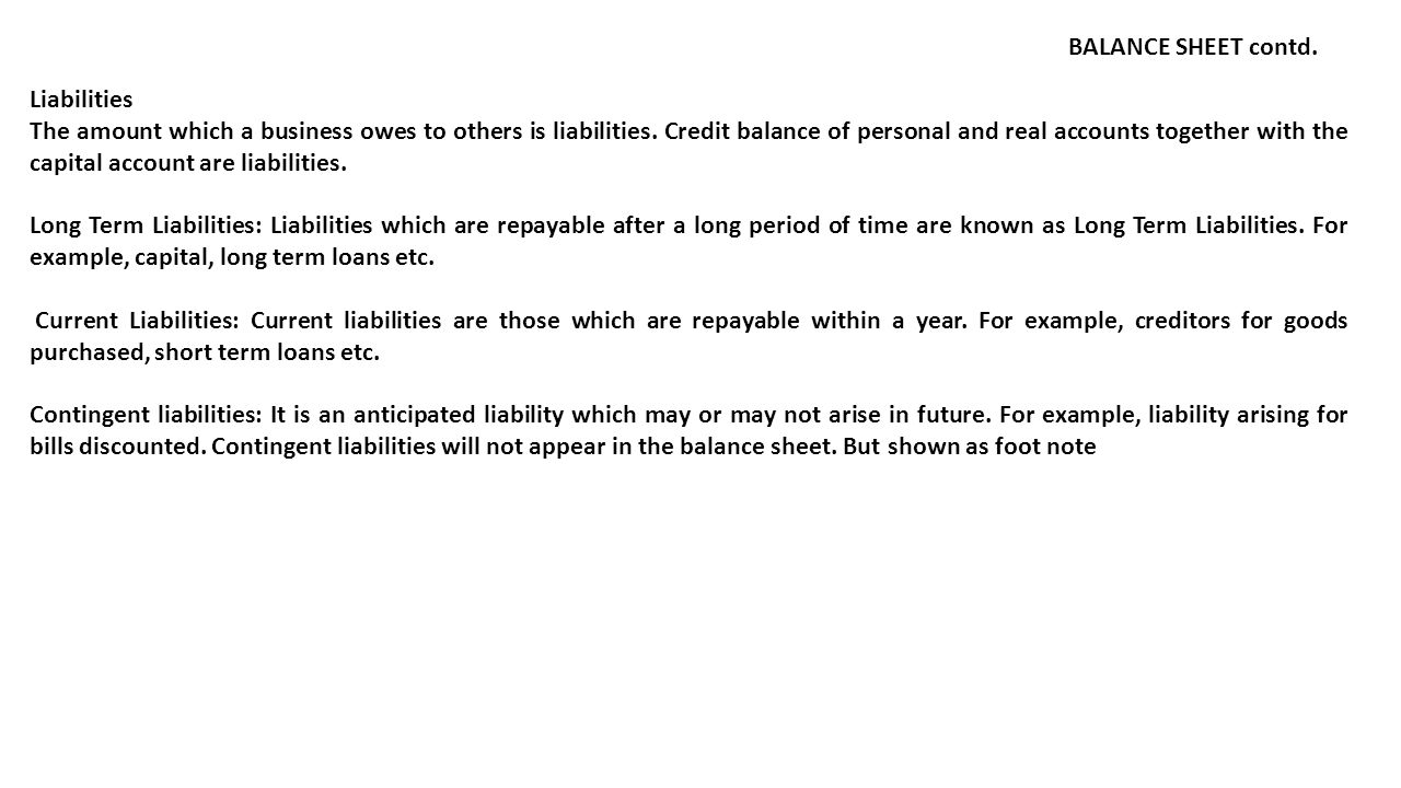 BALANCE SHEET contd. Liabilities.