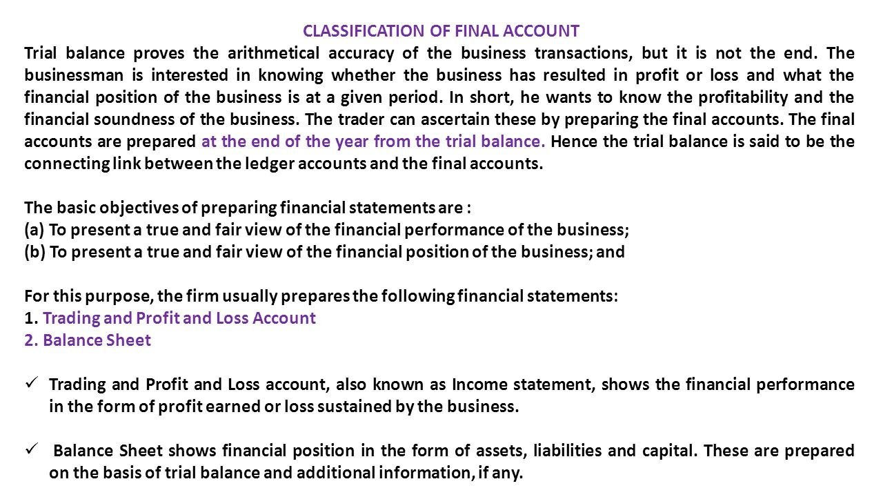 CLASSIFICATION OF FINAL ACCOUNT