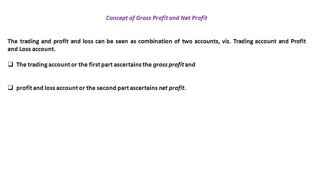Concept of Gross Profit and Net Profit
