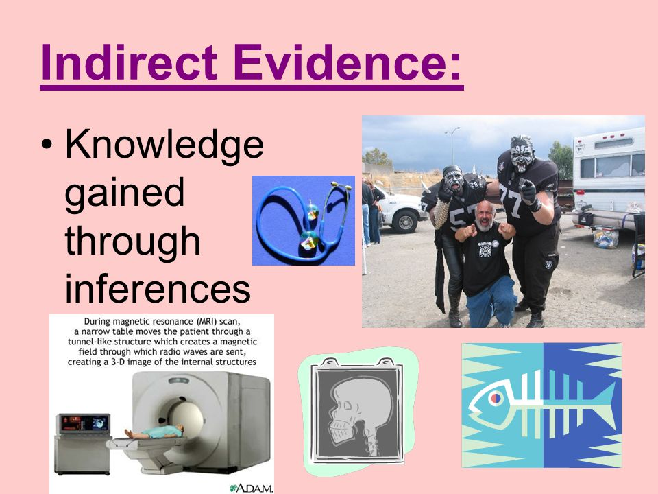 Indirect Evidence: Knowledge gained through inferences