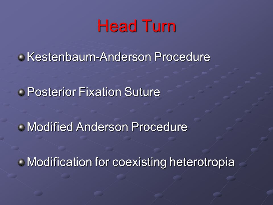 Head Turn Kestenbaum-Anderson Procedure Posterior Fixation Suture