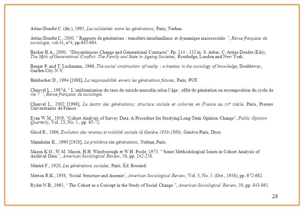 Attias-Donfut C. (dir.), 1995, Les solidatités entre les générations, Paris, Nathan.