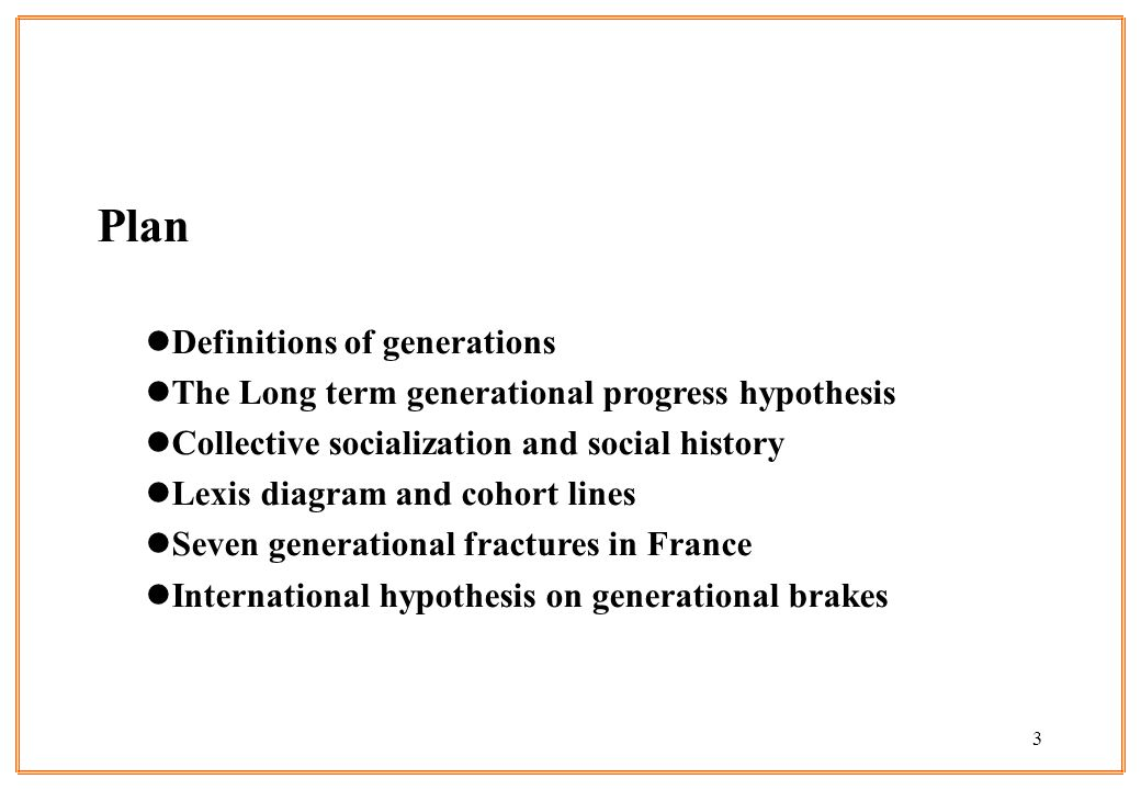 Plan Definitions of generations