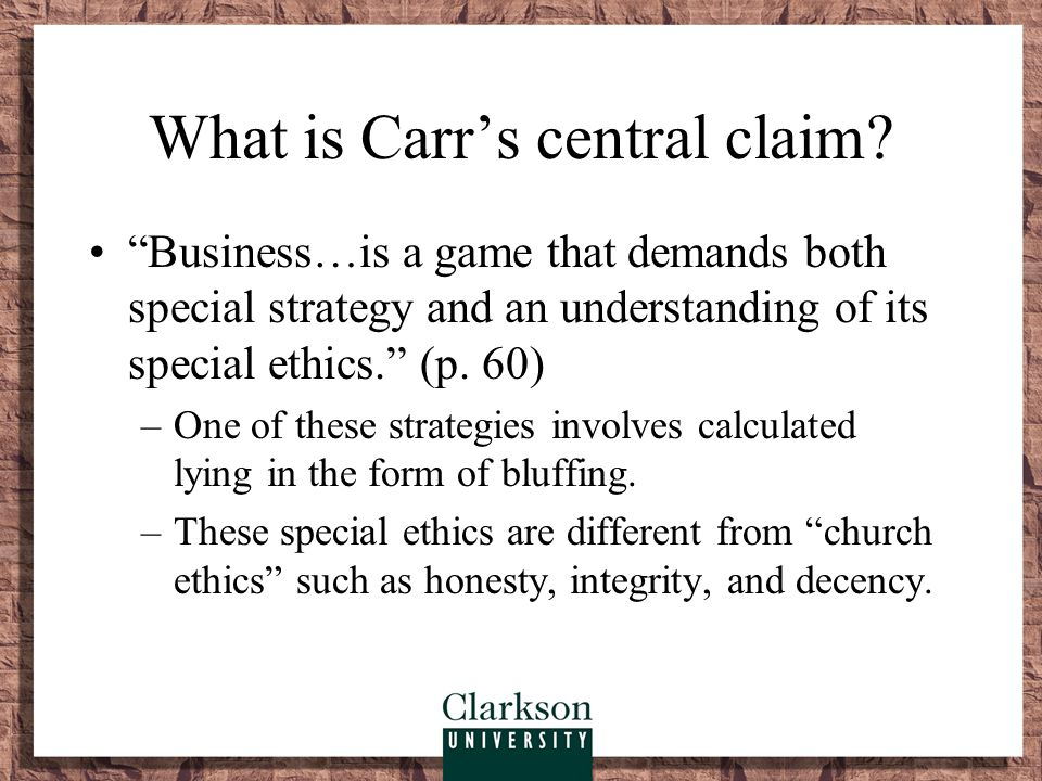 What is Carr's central claim