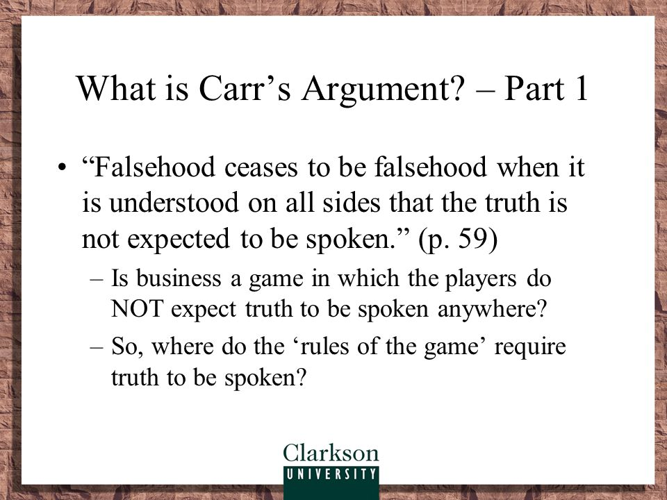 What is Carr's Argument – Part 1