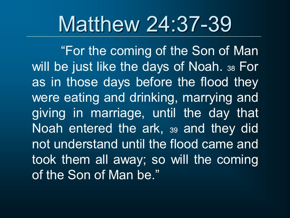 In The Days Of Noah Eating And Drinking