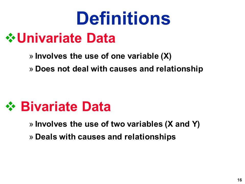 Definitions Univariate Data Bivariate Data