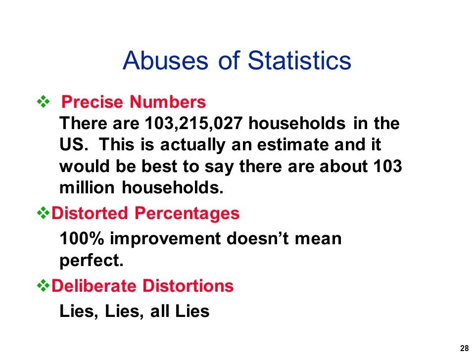 Abuses of Statistics Precise Numbers