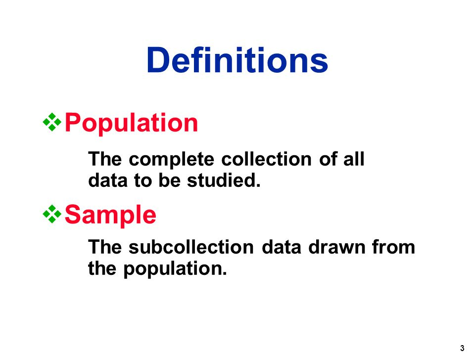 Definitions Population Sample