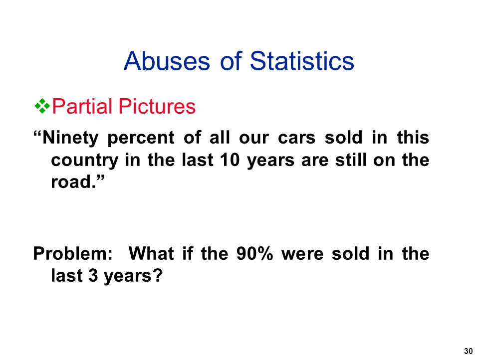 Abuses of Statistics Partial Pictures
