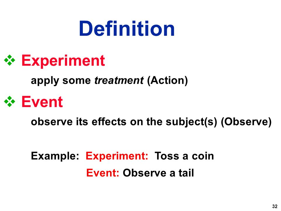 Definition Experiment Event apply some treatment (Action)