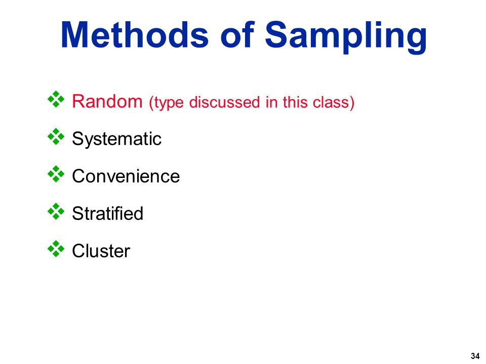 Methods of Sampling Random (type discussed in this class) Systematic
