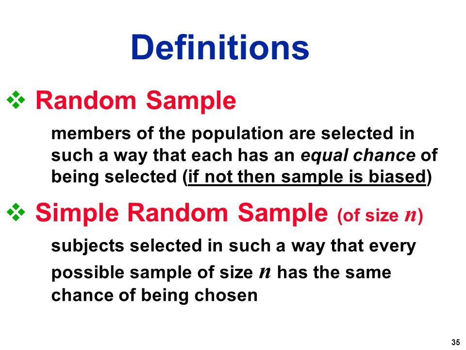 Definitions Random Sample Simple Random Sample (of size n)