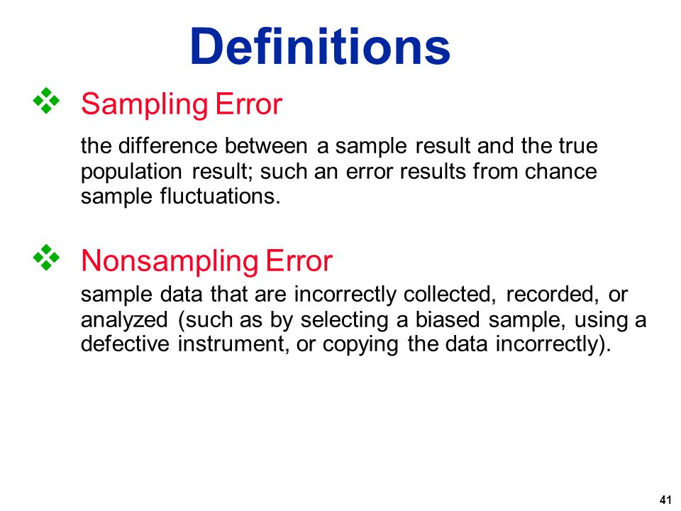 Definitions Sampling Error Nonsampling Error