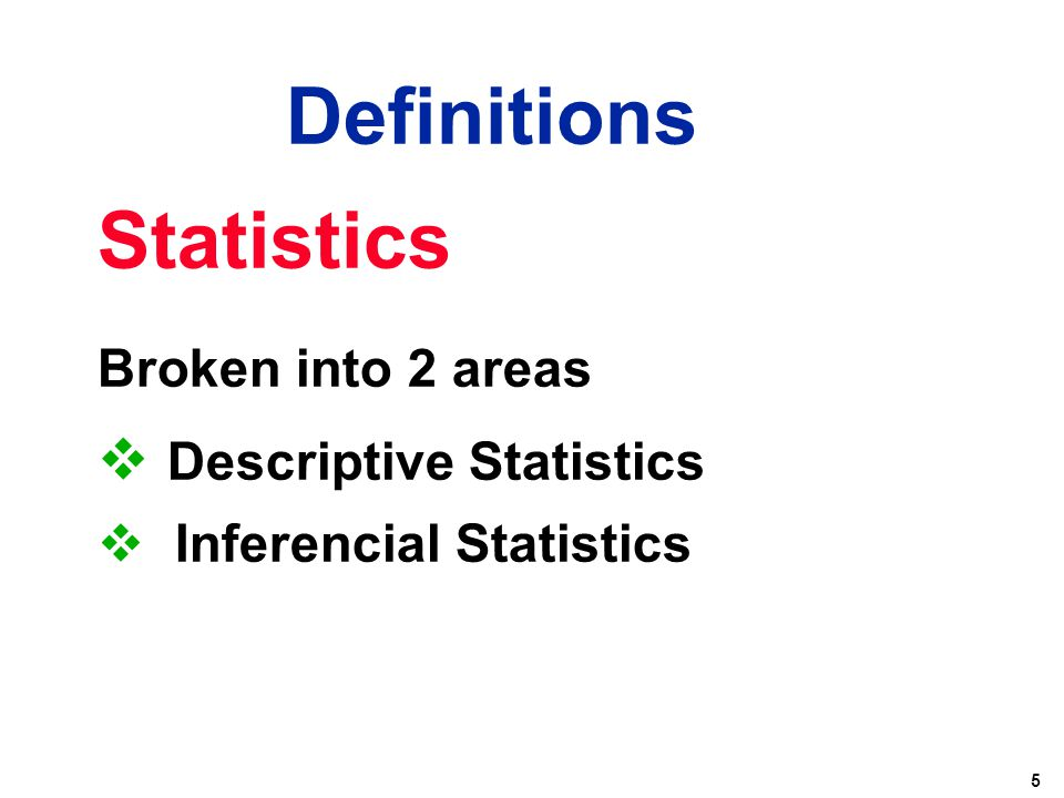 Definitions Statistics Descriptive Statistics Broken into 2 areas