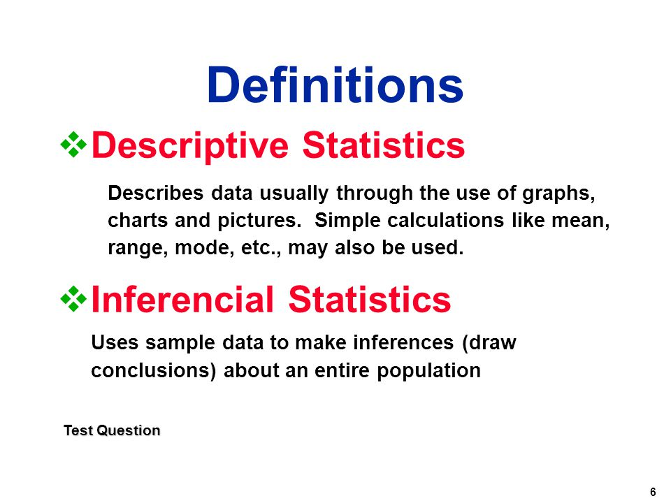 Definitions Descriptive Statistics Inferencial Statistics
