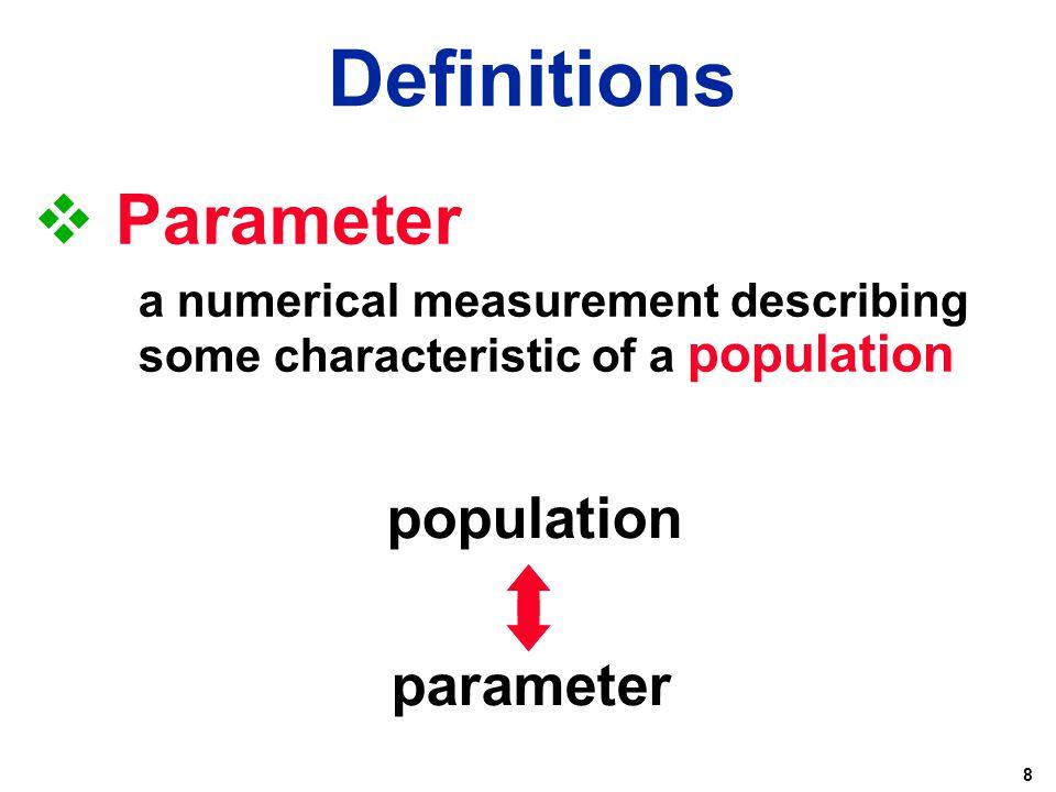 Definitions Parameter population parameter