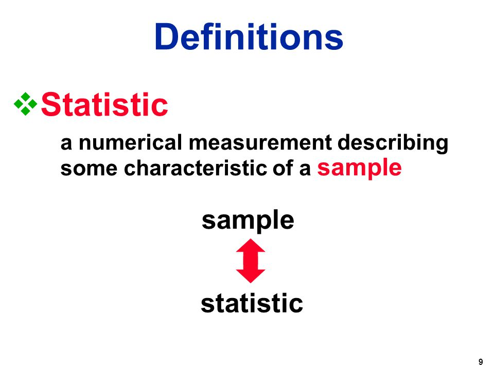 Definitions Statistic sample statistic