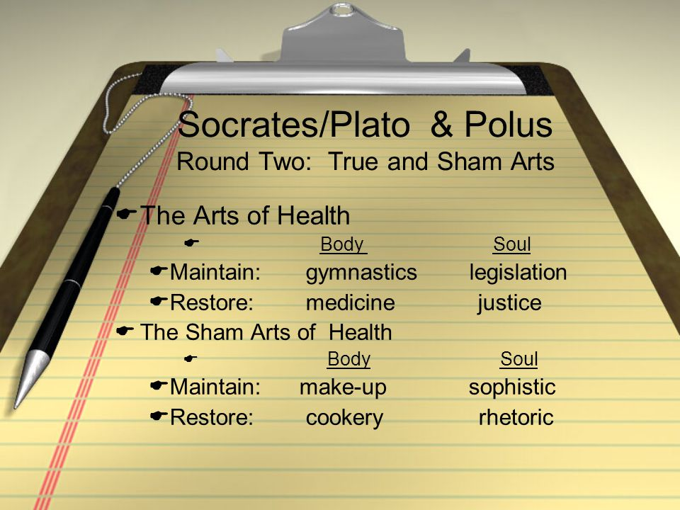 Socrates/Plato & Polus Round Two: True and Sham Arts