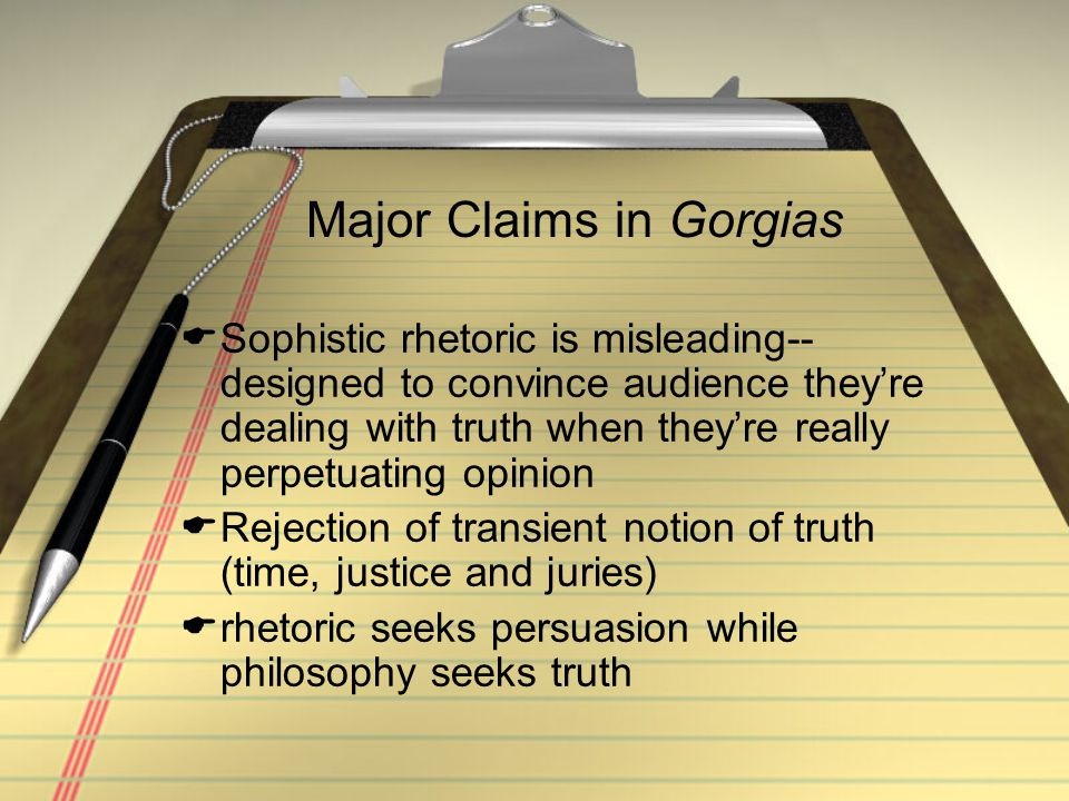 Major Claims in Gorgias