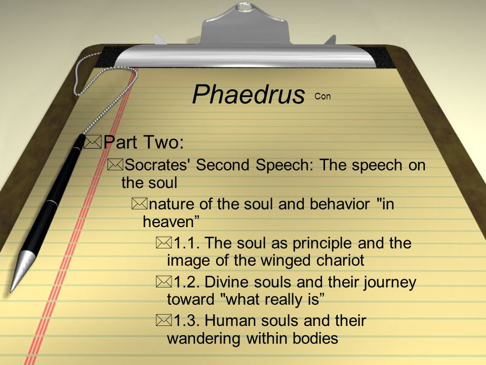 Phaedrus Con Part Two: Socrates Second Speech: The speech on the soul