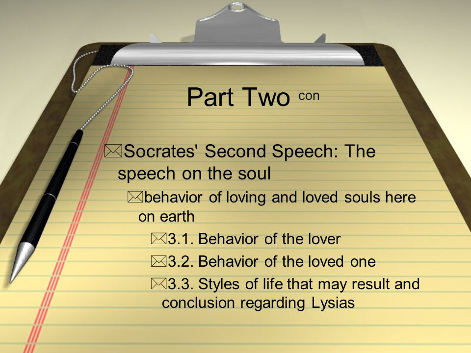 Part Two con Socrates Second Speech: The speech on the soul
