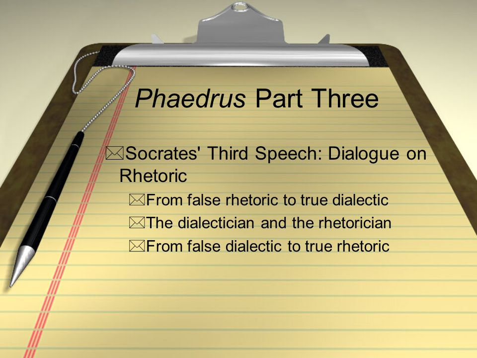 Phaedrus Part Three Socrates Third Speech: Dialogue on Rhetoric