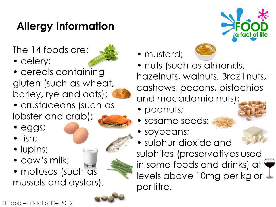 Allergy information The 14 foods are: • mustard; • celery;