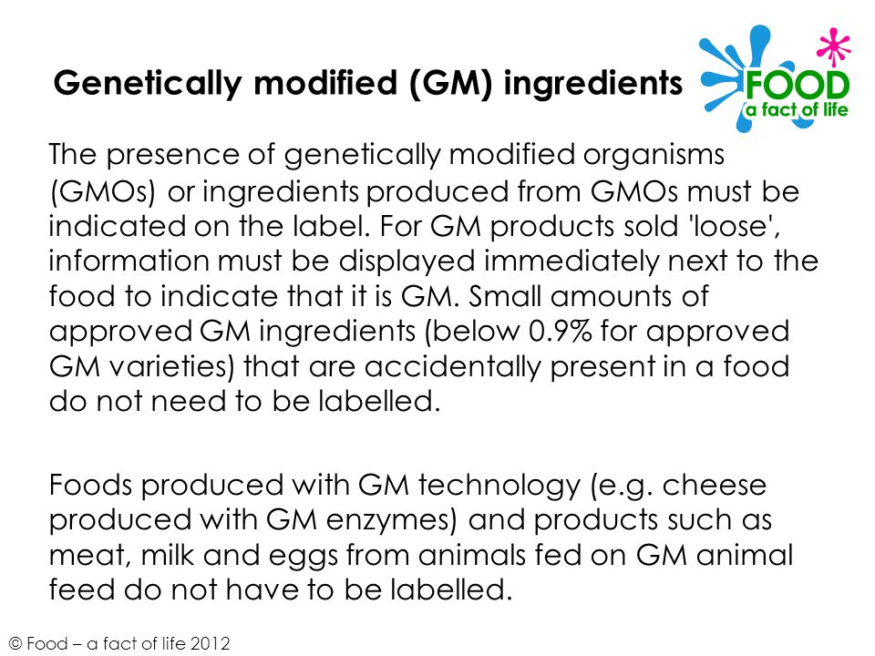 Genetically modified (GM) ingredients
