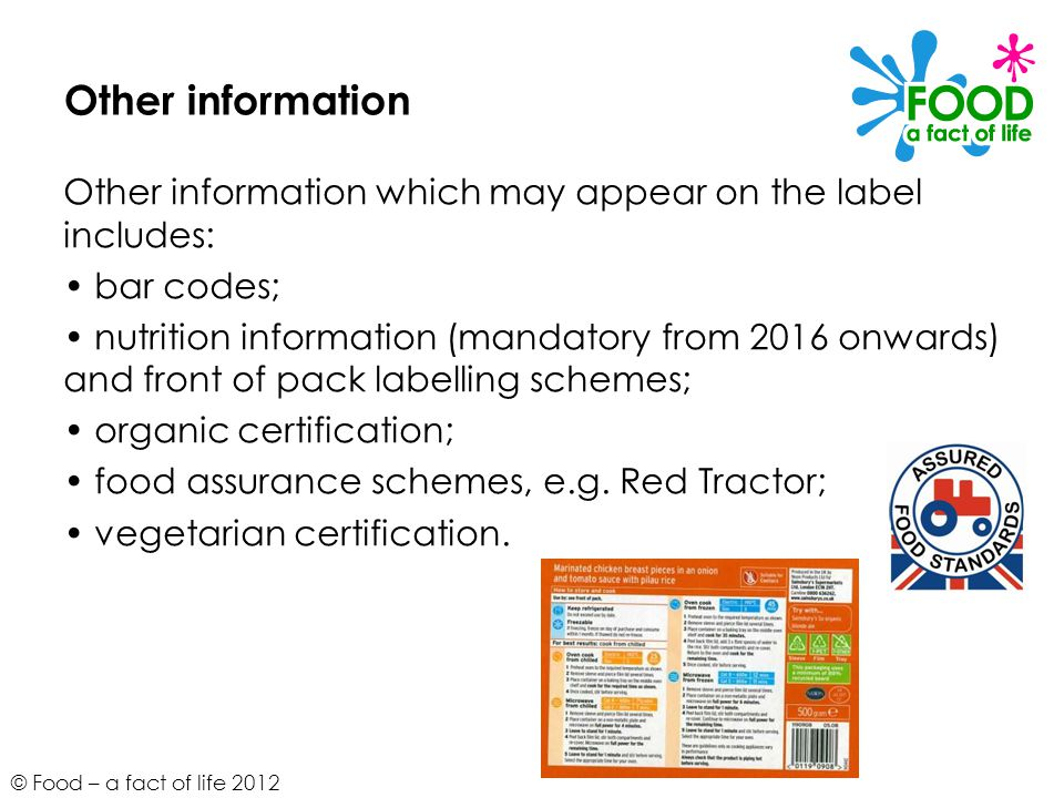Other information Other information which may appear on the label includes: • bar codes;