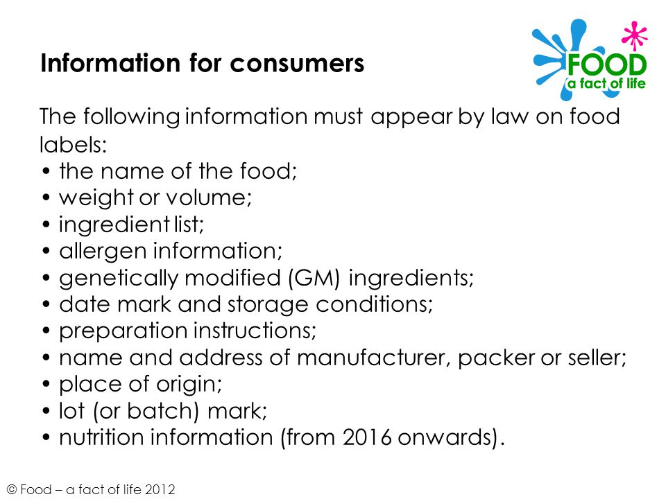 Information for consumers