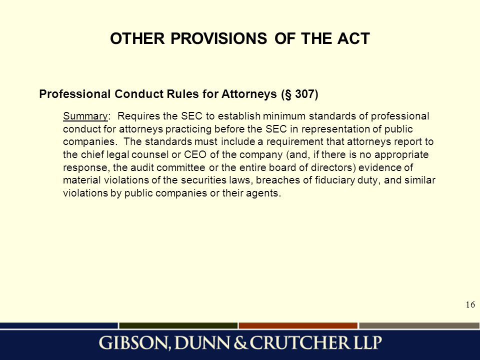 OTHER PROVISIONS OF THE ACT