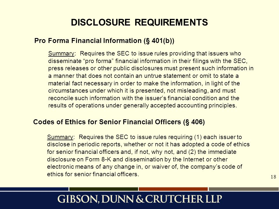 DISCLOSURE REQUIREMENTS
