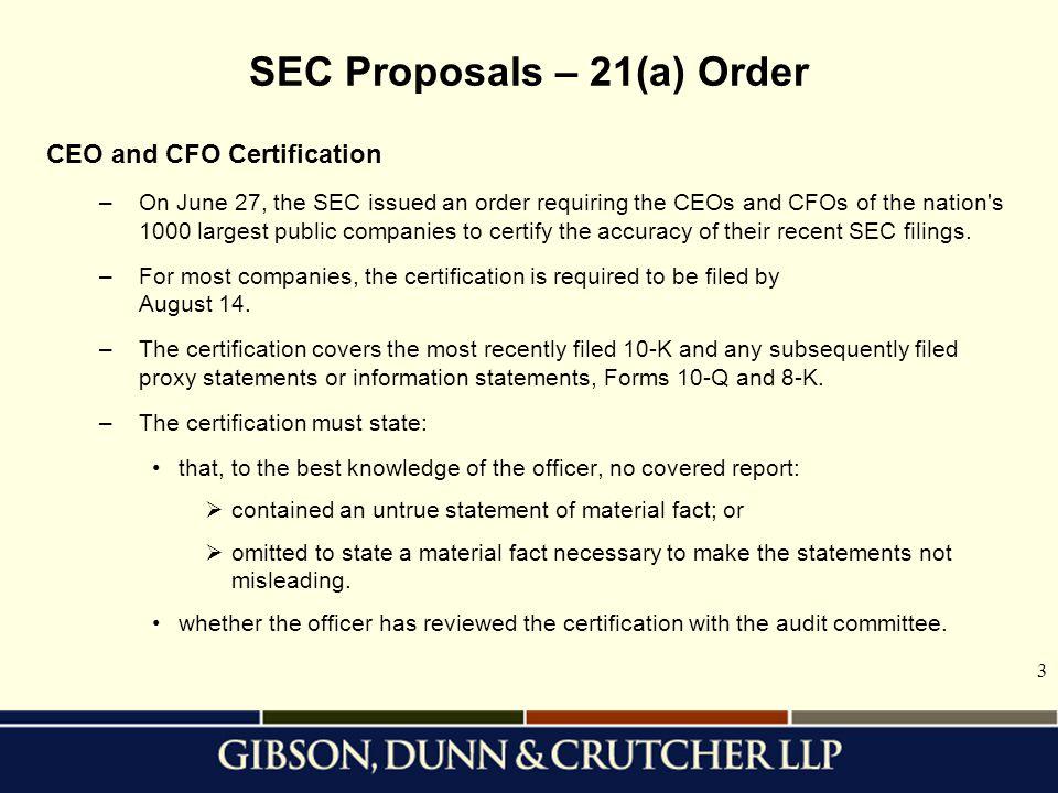 SEC Proposals – 21(a) Order