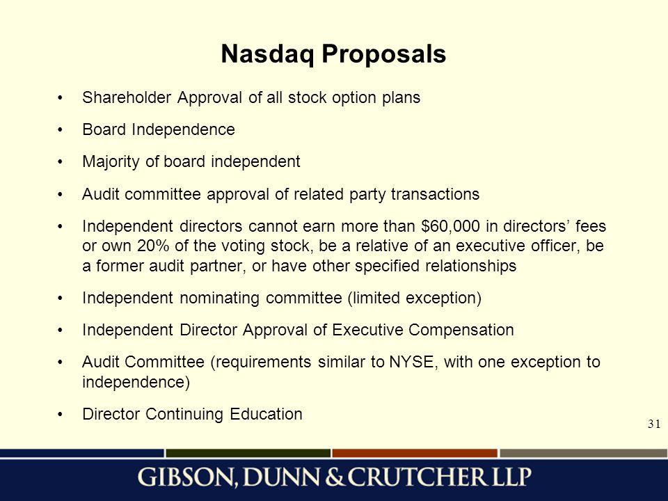 Nasdaq Proposals Shareholder Approval of all stock option plans