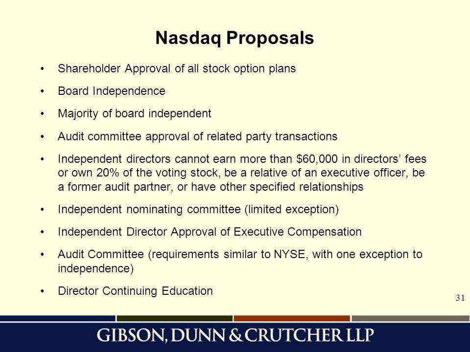 Nasdaq Proposals Shareholder Approval of all stock option plans