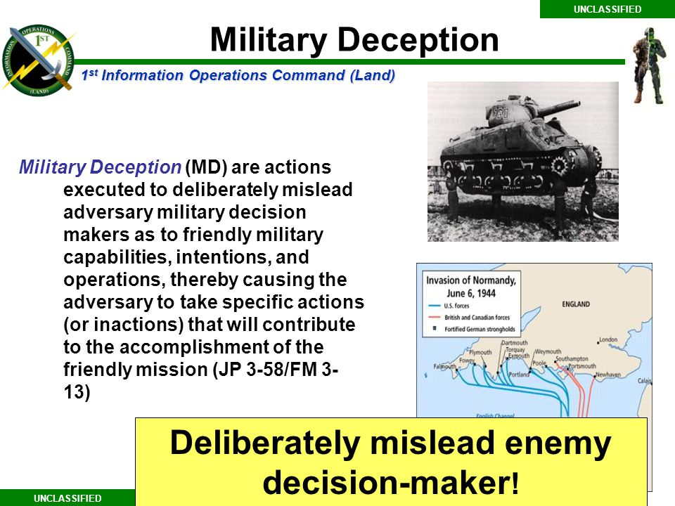 Deliberately mislead enemy decision-maker!