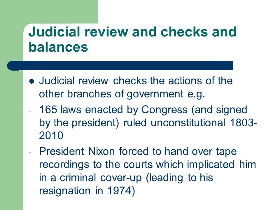 Judicial review and checks and balances