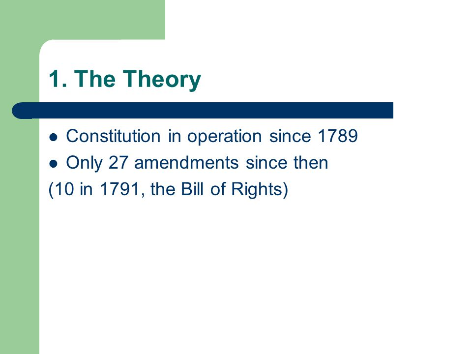 1. The Theory Constitution in operation since 1789
