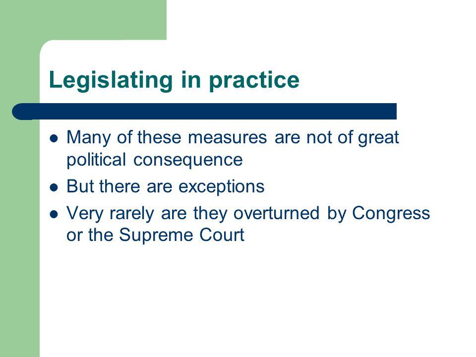 Legislating in practice