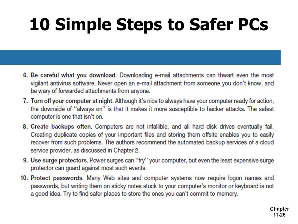 10 Simple Steps to Safer PCs