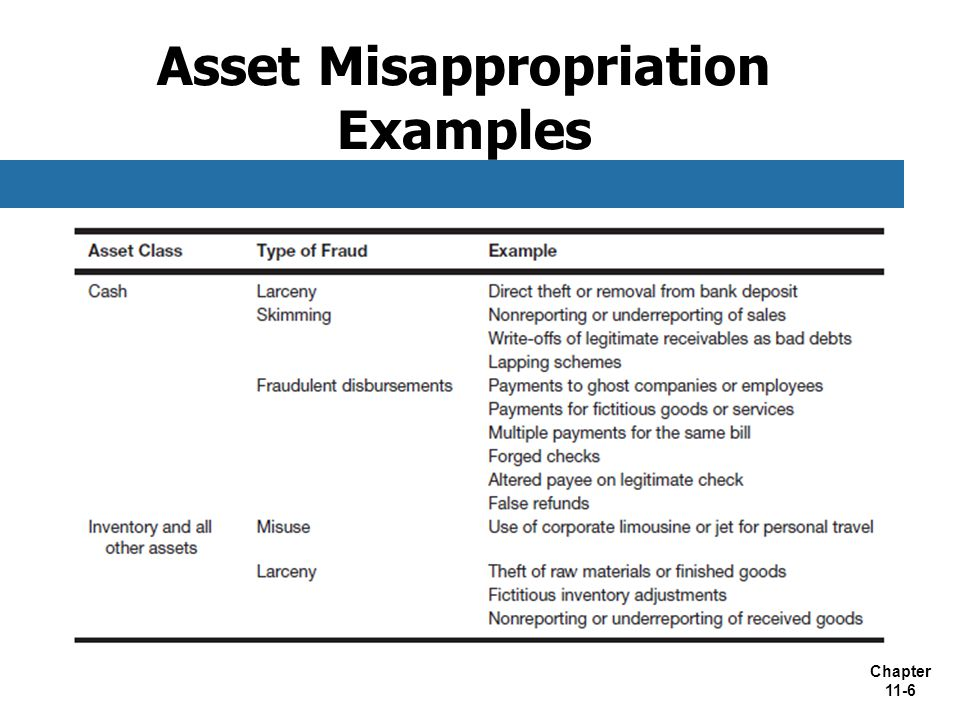 Asset Misappropriation Examples