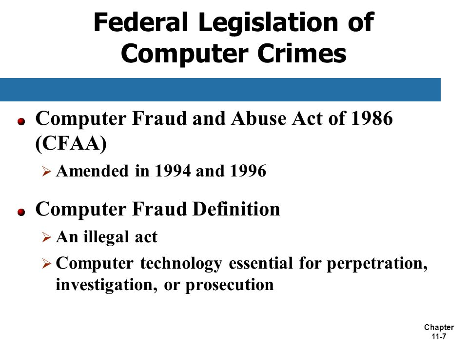 Federal Legislation of Computer Crimes