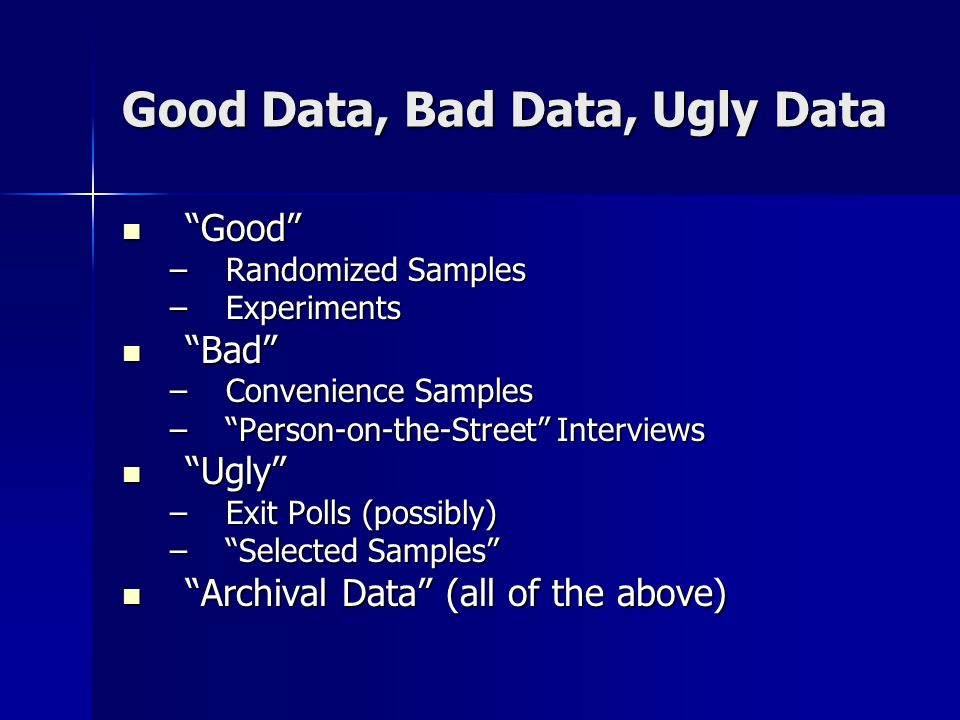 Good Data, Bad Data, Ugly Data