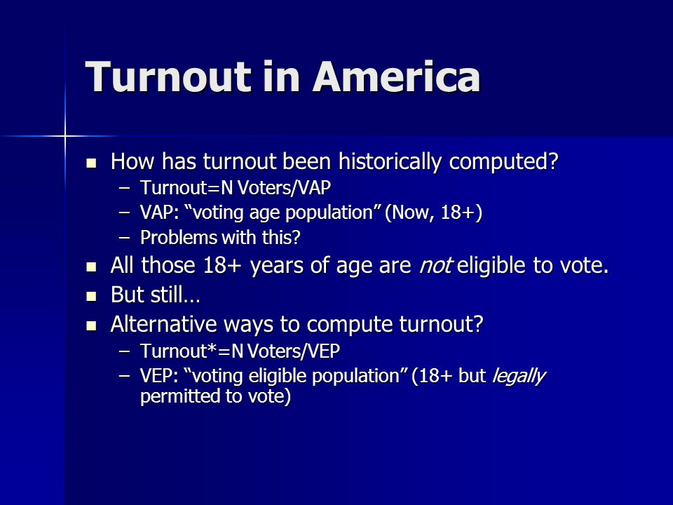 Turnout in America How has turnout been historically computed