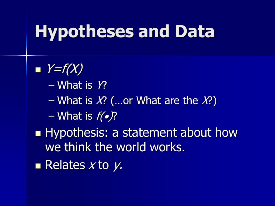 Hypotheses and Data Y=f(X)
